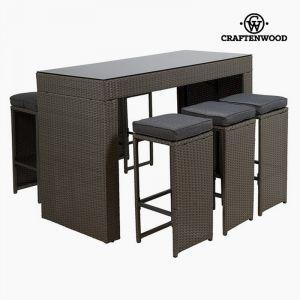 Craftenwood Ensemble de 1 Table Haute et 4 Tabourets en Rotin Synthétique avec Coussins