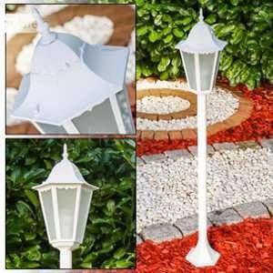 Hofstein Lampadaire d'extérieur Hongkong Frost Blanc, 1 lumière Moderne Extérieur Frost-