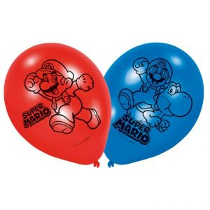 6 ballons en latex Super Mario