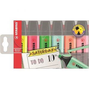 Stabilo BOSS ORIGINAL - Pochette de 6 surligneurs (Format Journal créatif) - Couleurs fluo et pastel