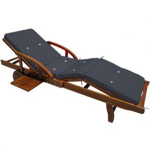 Deuba Detex® Coussin pour transat chaise longue de jardin Gris anthracite 195 cm Relax