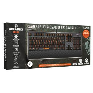 Konix World of Tanks K-70 - Clavier - rétro-éclairé - USB - commutateur à clé : interrupteur brun