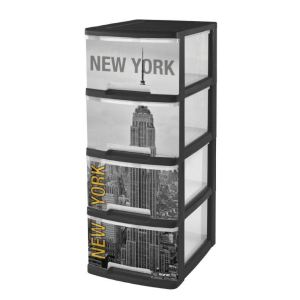 curver 203619 tour de rangement a4 new york 4 tiroirs. Black Bedroom Furniture Sets. Home Design Ideas
