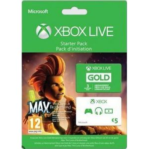 Microsoft Abonnement Xbox Live Gold 3 Mois + 5 Euros + Max : The Curse of Brotherhood