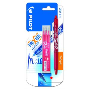 Pilot Stylo roller ball Clicker + 3 recharges - Rouge