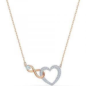 Swarovski Collier 5518865 - Collier or doré et argenté pendentif c?ur infini Femme