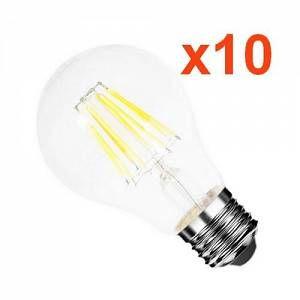 Silamp Ampoule E27 LED Filament 6W 220V COB 360 (Pack de 10) - couleur eclairage : Blanc Chaud 2300K - 3500K