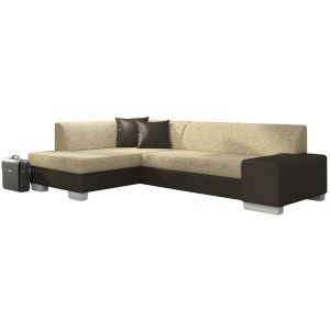 Comforium Canapé d'angle convertible 4 places en tissu beige et cuir synthétique brun avec coffre méridienne côté gauche