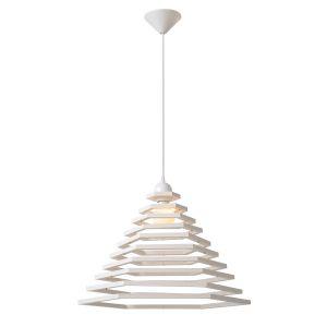 Lucide Tora 50 cm - Suspension conique ajourée en bois Ø50 cm