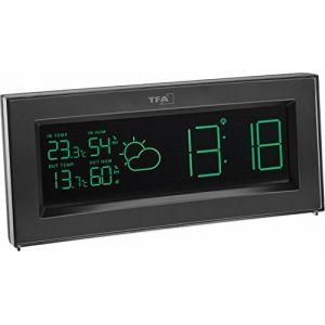 TFA Dostmann Dostmann 35.1147.01. IT Coloris Station météo Radio avec 'Color Sharp' écran et transmetteur extérieur de Changement de Couleur, Noir, 20 x 3 x 9 cm