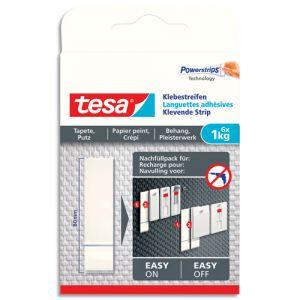 Tesa Boîte de 6 Languettes adhésives blanches, papier peint et plâtre, charge 1kg, Ft : L1,5xH13xP0,1 cm - Lot de 3