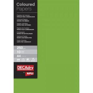 DECAdry 12182 - Etui de 10 feuilles de papier couleur A4, 250 g/m², vert émeraude
