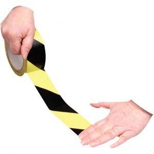 Majuscule Ruban adhesif de signalisation noir et jaune 50mmx33m PVC
