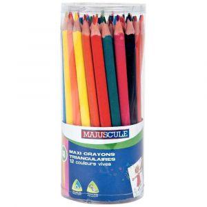 Majuscule Pot de 48 crayons de couleur triangulaires pointe large assortis