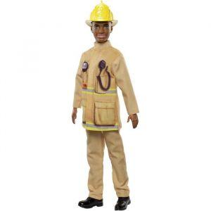 Mattel Ken Métiers poupée Pompier avec tenue jaune, jouet pour enfant, FXP05