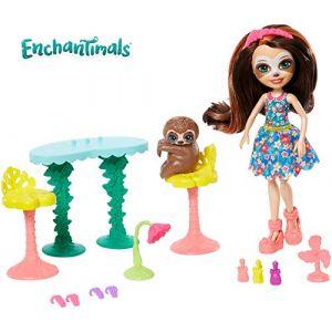 Mattel Enchantimals Coffret la Manucure du Paresseux, Mini-poupée Sela et Figurine Animale Treebody, Accessoires inclus, Jouet pour Enfant, Gfn54