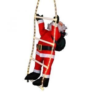 Pere Noël grimpeur sur échelle lumineuse 54 LED (60 cm)