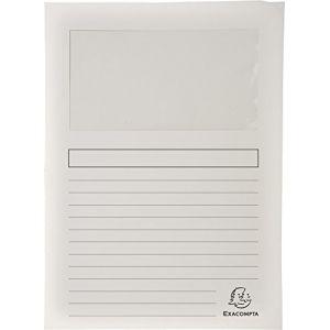Exacompta 50110E - Paquet de 100 chemises à fenêtre FOREVER, coloris blanc