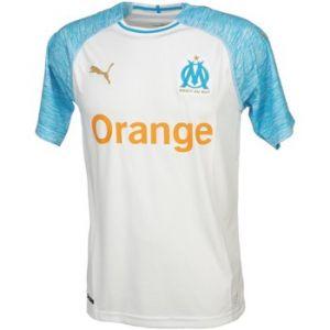 Puma Olympique de Marseille Home Shirt Replica SS Kids Maillots Mixte Enfant, White/Bleu Azur, FR : Taille Unique (Taille Fabricant : 176)