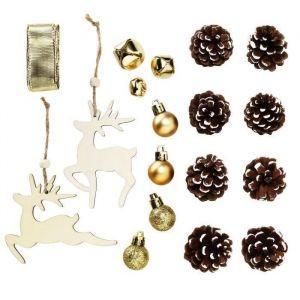 Panduro Décorations en bois brun et or - 18 pieces