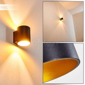 Hofstein Applique murale Letsbo en métal noir et or, lampe d'intérieur au style épuré créant un effet lumineux au mur, pour une ampoule G9 max 40 Watt, compatible ampoules LED