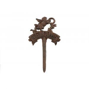 Décoration d'Autrefois Pic tuteur arrosoir Ange Welcome en fonte H 27 cm