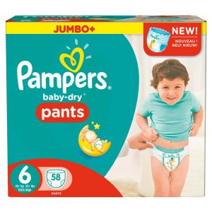 Pampers Baby-Dry Pants taille 6 Extra Large + 16 kg - Jumbo Plus Pack 58 couches