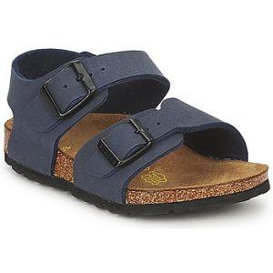 Birkenstock New York 87003, Sandales mixte enfant - Nubuk bleu marine, 34 (étroit) EU