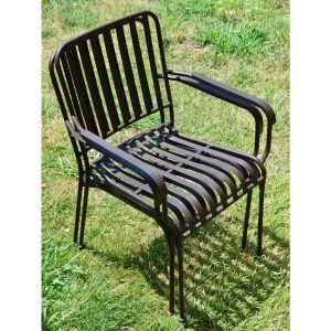 Givex Lot de 2 fauteuils empilables métal MOSAIQUE