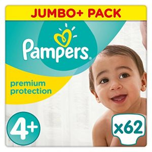 Pampers Premium Protection - Couches Taille 4+ (9-18 kg) - Jumbo+ Pack (x62 couches)
