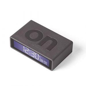 Lexon Flip+ Réveil LCD en Caoutchouc Gris foncé
