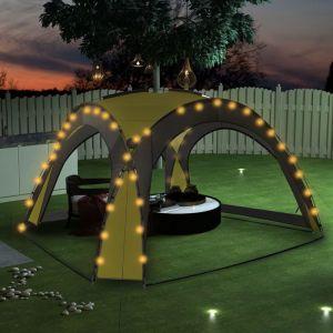VidaXL Tente de réception avec LED et 4 parois 3,6x3,6x2,3 m Vert