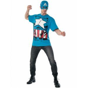 T shirt et masque Captain America adulte Taille L
