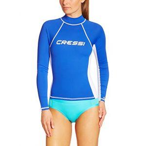 Cressi Rashguard Femme Haute de combinaison en tissu très élastique spéciale - Manches Longues - Protection Solaire UV (UPF) 50+ Bleu S/2-38