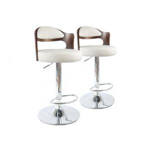 Stanley Lot de 2 chaises de bar Ruben Bois Noisette & Blanc