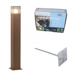 Qazqa Lampe extérieure P70 rouille avec piquet de terre manchon de câble - Denmark