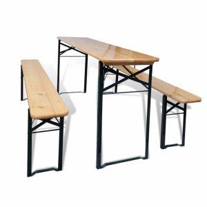 VidaXL Ensemble de table et bancs trois pièces pliable