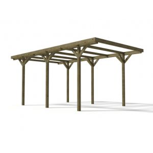 Expertland Carport simple ZEPHYR en bois traité classe III - Surface 15.5 m²