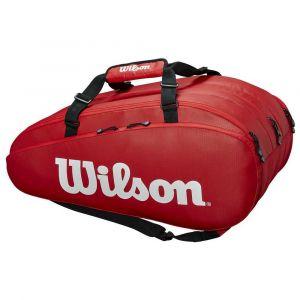 Wilson Sac de Tennis, Tour 3 Comp, Rouge, Unisexe, Jusqu'à 15 Raquettes, WRZ847915