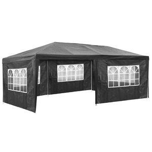 TecTake Pavillon de jardin gris avec 5 panneaux latéraux
