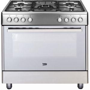 Beko GM15121DXM - Cuisinière - pose libre - largeur : 90 cm - profondeur : 60 cm - hauteur : 85 cm - classe B - acier inoxydable