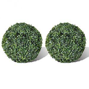 VidaXL 40871 - 2 boules artificielles plantes intérieur/extérieur 30 cm