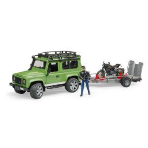 Bruder Toys 02598 - Land Rover Defender avec Remorque, Moto Scrambler Ducati Cafe et Personnage - Verte