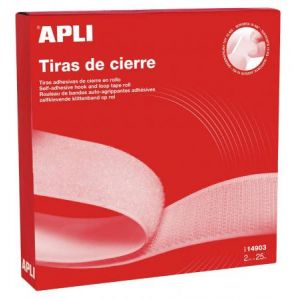 APLI 14903 - Bande auto-agrippante type Velcro, adhésive, 20mm x 25m, blanc