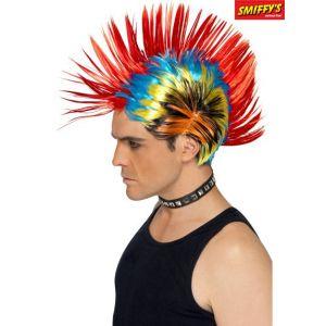 Smiffy's Perruque punk de rue des années 80, Mohawk, multi couleurs