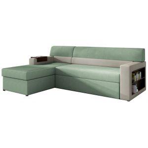 Comforium Canapé d'angle convertible 3 places en tissu vert pastel et gris avec coffre méridienne côté gauche
