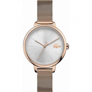 Lacoste Montre 2001103 - boitier acier plaque ionique or rose rond cadran argenté bracelet acier maille milanaise or rose Femme