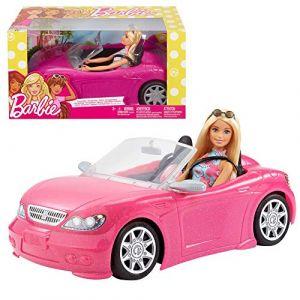 Mattel Voiture Cabriolet Rose, décapotable avec deux sièges noirs, ceintures et rétroviseurs argentés, poupée incluse, jouet pour enfant, FPR57