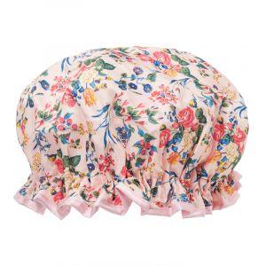 The Vintage Cosmetic Company Bonnet de douche Fleurs Rose Satin