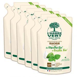 L'Arbre Vert Bien être Recharge Crème Lavante Mains Menthe-Basilic Bio - 300ml